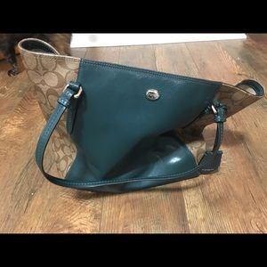 Green and brown coach purse